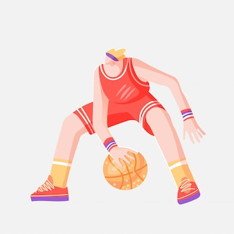 Vector flat colored sketch illustration of professional basketball player, playing with ball in dynamic pose, isolated on white.