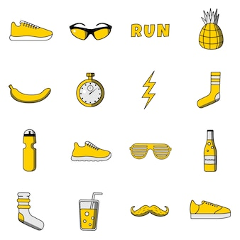 Vector flat colorful funny and cute illustration set