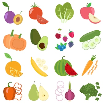 Vector flat colorful vegetables and fruits Premium Vector