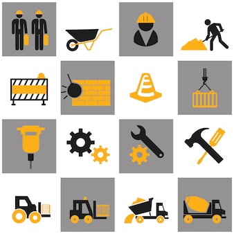 Vector flat construction icon set on colorful background.