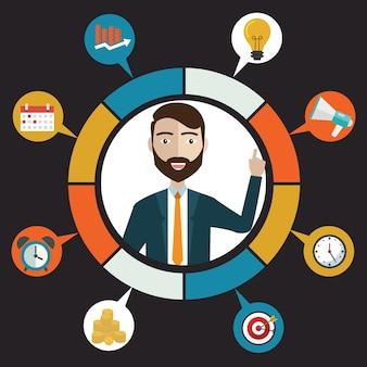 평면 고객 서비스 및 비즈니스 개념-아이콘 및 infographic 디자인 요소 벡터.