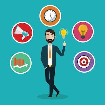 Векторная плоская концепция обслуживания клиентов и бизнеса - значки и элементы инфографического дизайна.