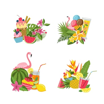 Vector flat cute summer elements, cocktails, flamingo, palm leaves piles set isolated on white background illustration