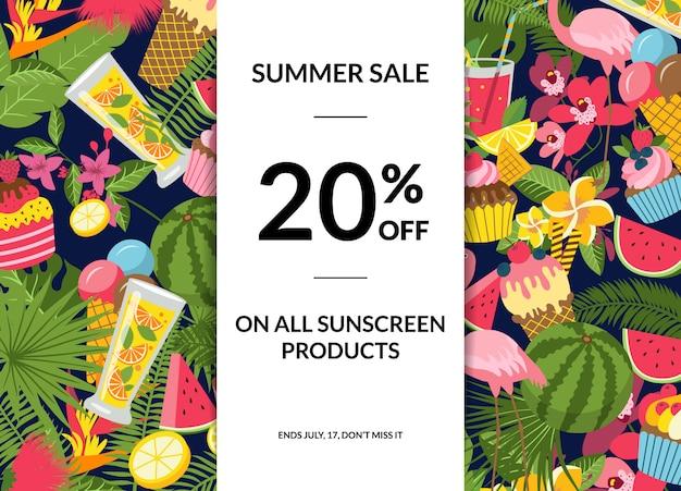 Вектор плоские милые летние элементы, коктейли, фламинго, пальмовые листья продажа плакат с местом для текста иллюстрации