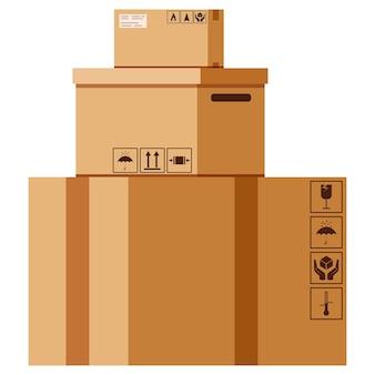 Вектор плоский дизайн мультяшный стиль иллюстрации картонные коробки стек с упаковкой поет, изолированные на белом фоне.