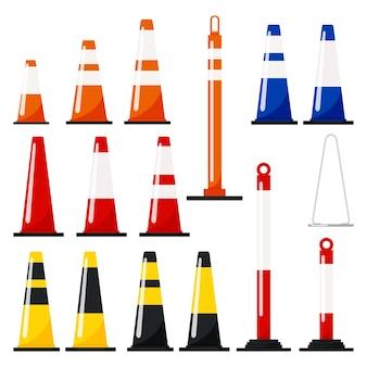 트래픽 콘의 벡터 평면 디자인 그림은 반사 줄무늬 스티커가 있는 주황색, 파란색, 빨간색, 노란색, 검정색을 설정합니다.