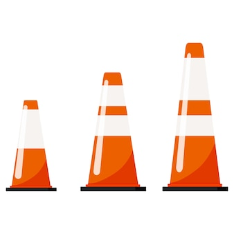 Vector flat design illustration of traffic orange color cones set with reflective stripes stickers isolated on white background.