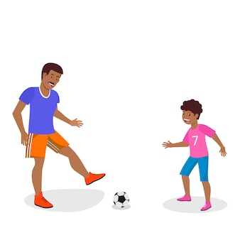 Vector flat father in orange shorts trains son.