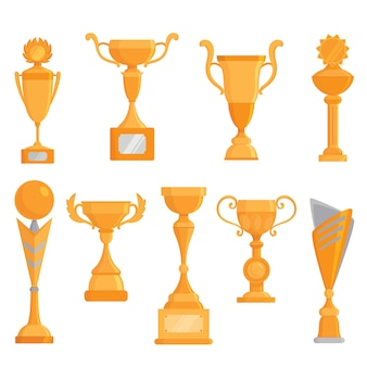 Vector flat golden goblet icon set in flat style. winner award. vector golden trophy set.