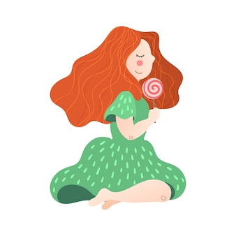 Vector flat hand drawn girl with a lollipop in her hand.