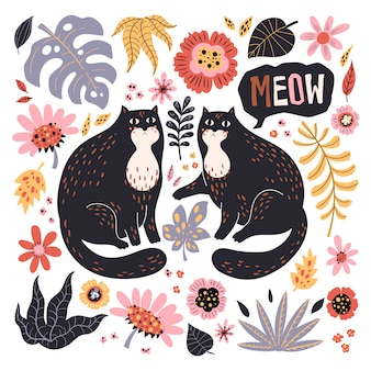 벡터 평면 손으로 그린 삽화입니다. 식물과 꽃과 귀여운 고양이.