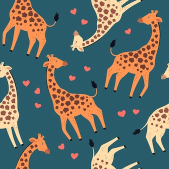 Vector flat hand drawn. pattern. giraffes with hearts.