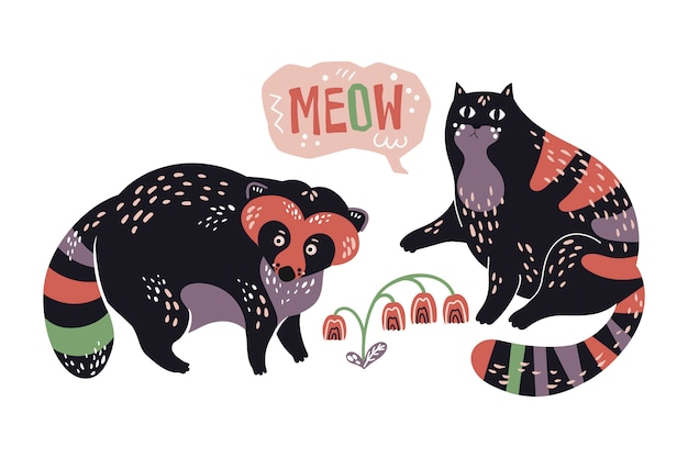 Vector flat hand drawn raccoon and cat with by flowers.