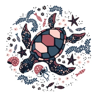 Vector flat hand drawn turtle surrounded by marine plants and animals.