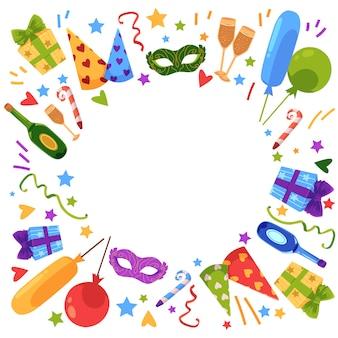Vector flat happy birthday card template