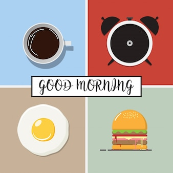 Vector Flat icon Design of Good morning