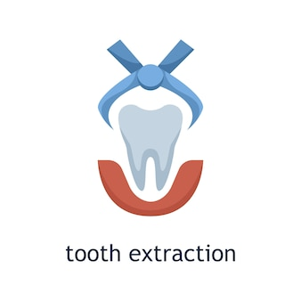 Vector flat icon of tooth extraction. dental treatment