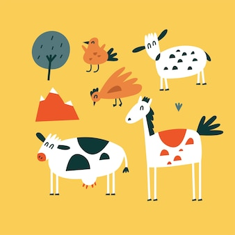 Vector flat illustartions set of standing animals - horse, cow, chicken and bird with sheep. funny characters for kids. cartoon style.