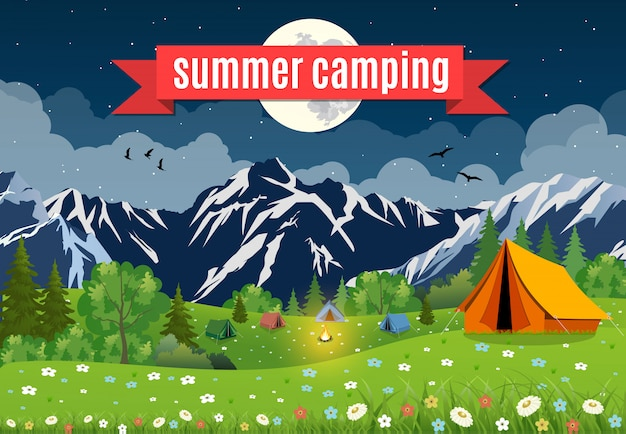 Vector flat illustration camping.