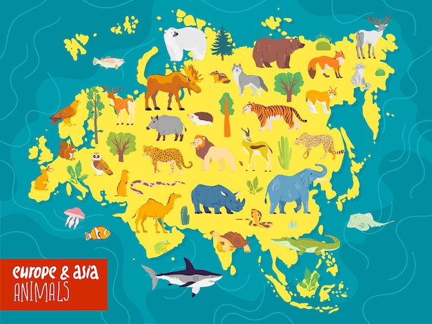 Vector flat illustration of europe and asia continent animals plants