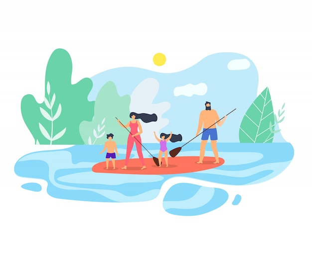 Vector flat illustration family vacation on lake