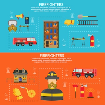 Vector flat illustration of firefighting character and infographic, axe, hook and hydrant, fire helicopter, hose, fire station, fire engine, fire alarm, extinguisher.