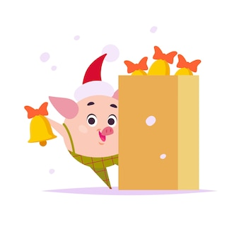 Vector flat illustration of funny little pig elf in santa hat and box of door bells isolated