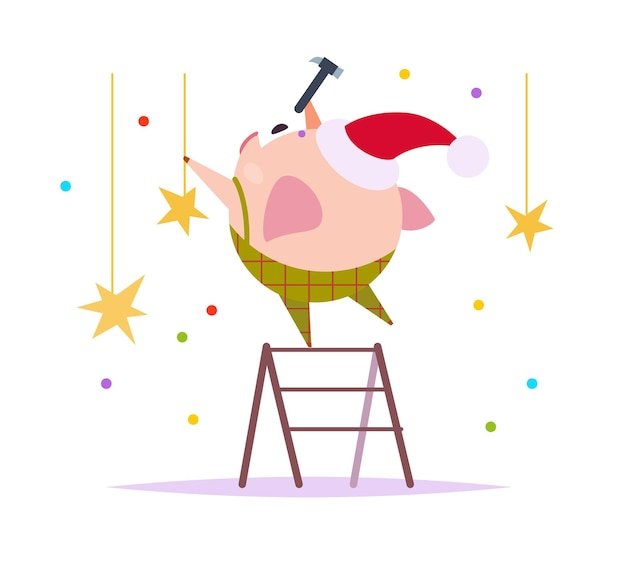 Vector flat illustration of funny little pig elf in santa hat standing on stairs decorating isolated on white background. perfect for web banner, packaging holiday design, cards etc.
