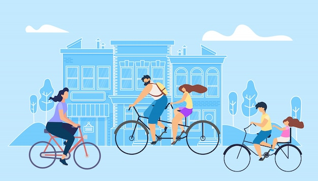 Vector flat illustration girl riding bike work.