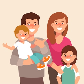 Vector flat illustration of happy family