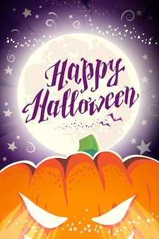 Vector flat illustration of happy halloween congratulation card.