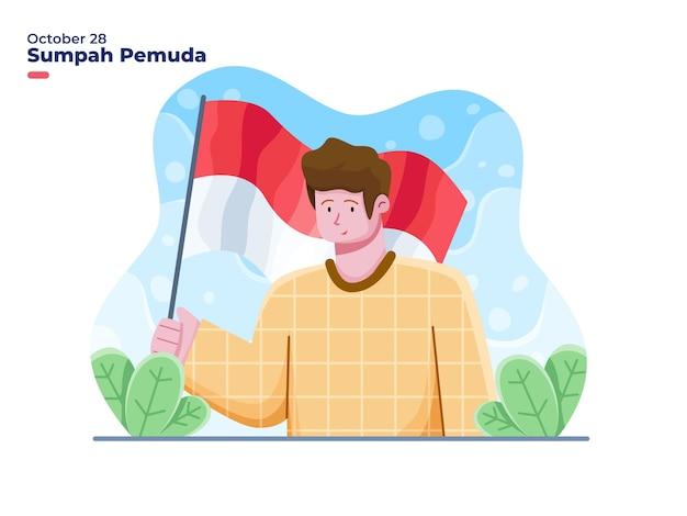 ベクトルフラットイラスト10月28日に幸せなインドネシアの青年の誓い
