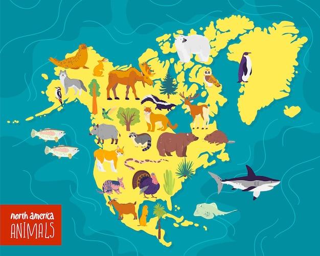 Vector flat illustration of north america continent animals