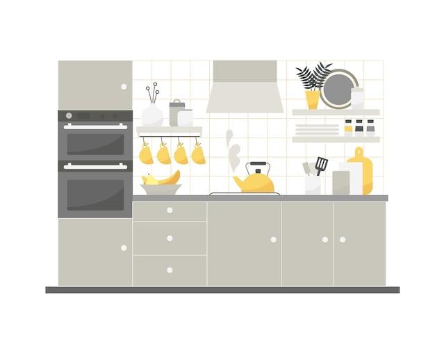 가구와 가전 제품이 있는 아늑한 주방 인테리어의 벡터 평면 그림.