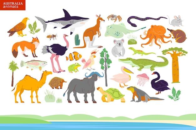 Векторная иллюстрация квартиры австралии животных, побережья, растений: попугай, верблюд, кенгуру, крокодил, страус, коала, черепаха, пальма, кактус и т. д. для инфографики, детской книги, алфавита, баннера.