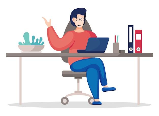 Векторная иллюстрация плоский деловой человек сидит за столом в офисе и работает.