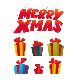 クリスマスギフトボックスのベクトルフラットイラスト。