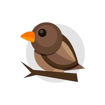 Векторная иллюстрация плоский красочный воробей на белом фоне. элемент дизайна. мультфильм. маленькая птица.