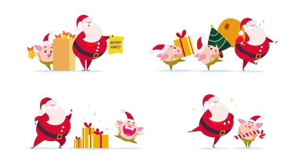 Векторная плоская иллюстрация забавного персонажа санта-клауса и милый маленький эльф свиньи в шляпе санта, изолированные на белом фоне. новогодняя елка, подарочная коробка представляет сумку. открытка, баннер, веб-дизайн, упаковка