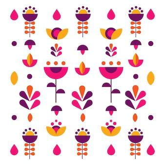 추상 화려한 꽃 꽃 배경 패턴의 벡터 평면 그림