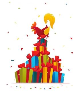 Векторная плоская иллюстрация петуха на куче рождественских подарочных коробок.