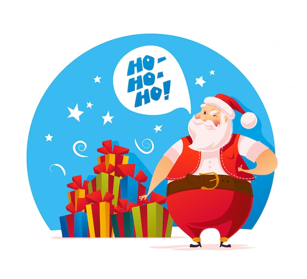 サンタクロースとクリスマスプレゼントの山のベクトルフラットイラスト。