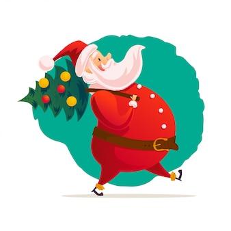 サンタクロースのベクトルフラットイラストを運ぶ飾られたクリスマスツリーを運ぶ。
