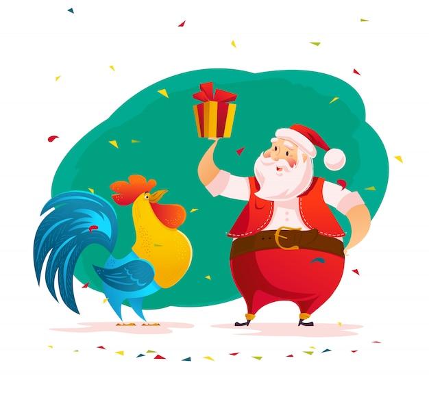 산타 클로스의 벡터 평면 그림 크리스마스 선물을 잡아.