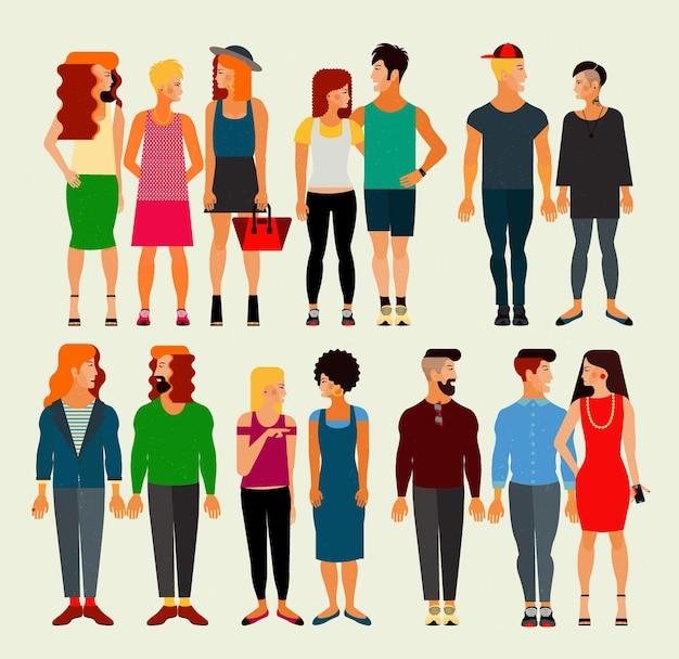 Векторная иллюстрация плоский членов общества с большой группой молодых мужчин и женщин. численность населения.