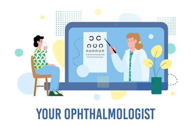 Vector flat illustration of a patient with glasses checking their vision and doctor ophthalmologist. concept of medical examination and consultation online. healthy lifestyle