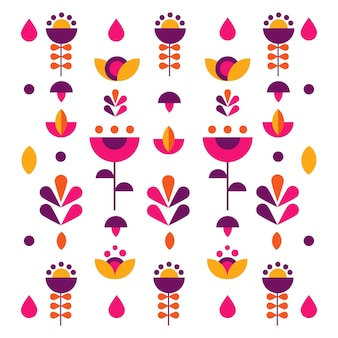 Vector flat illustration of pattern with abstract colorful flowers floral background