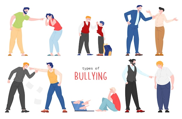 Vector flat illustration of people suffering from bullying isolated on white