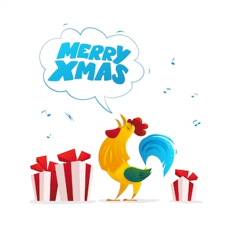 Vector flat illustration of rooster and christmas gift boxes.