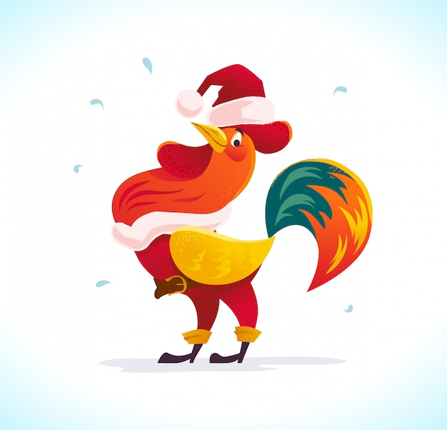 Vector flat illustration of rooster in santa claus costume.